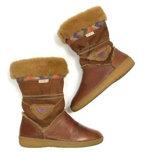 🏎VTG Tecnica Shearling Lined Brown Tribal Boots 8